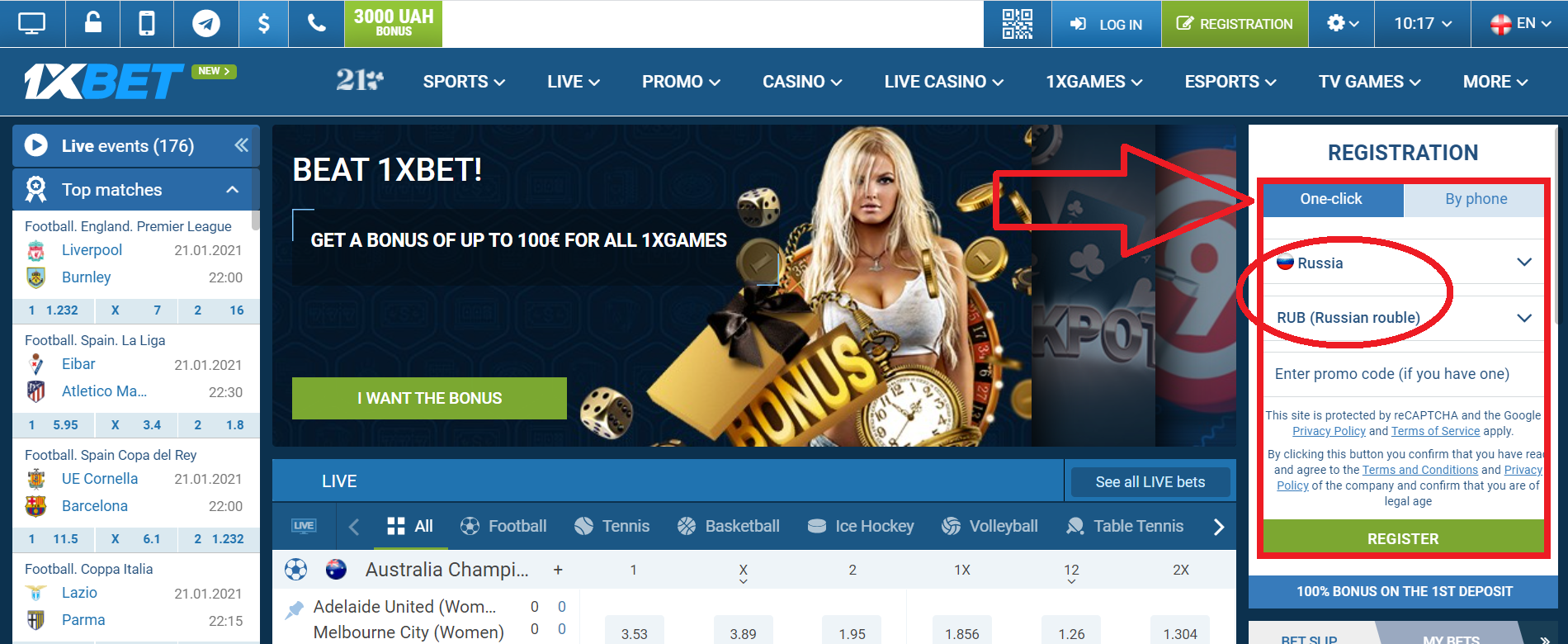 how to register 1xbet online
